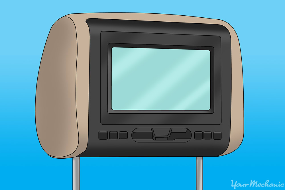 a car video display installed into the headrest