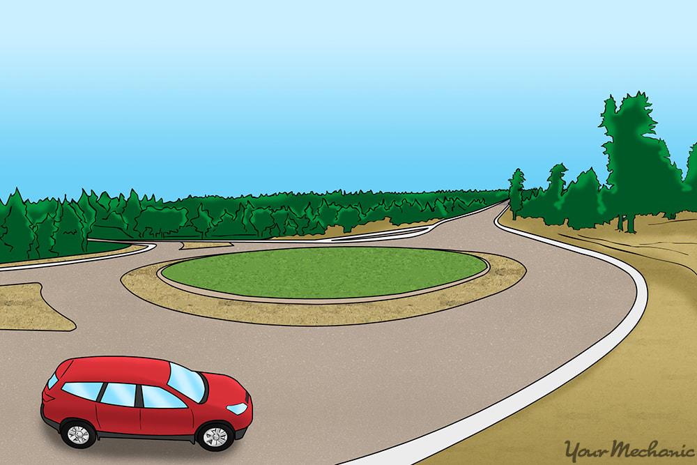vehicle entering roundabout