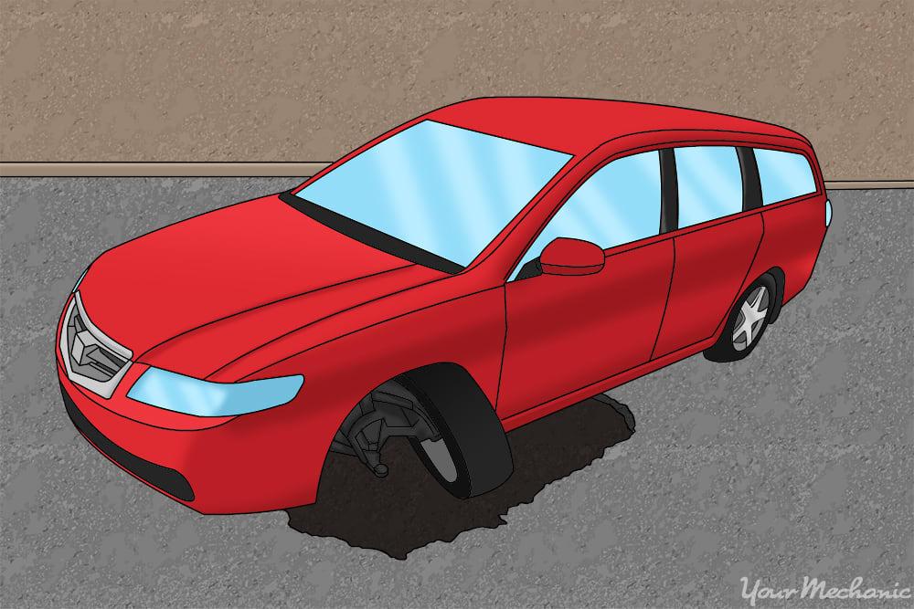 pothole vs car, pothole winning via tire damage