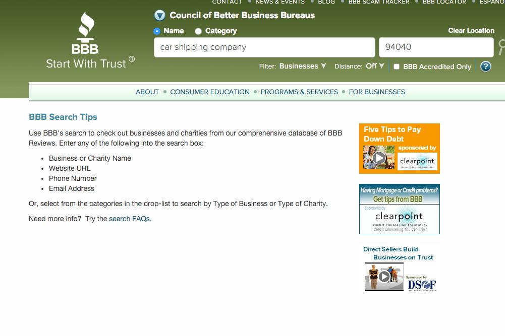 better business bureau screenshot