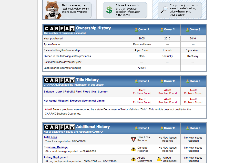 Bad carfax report