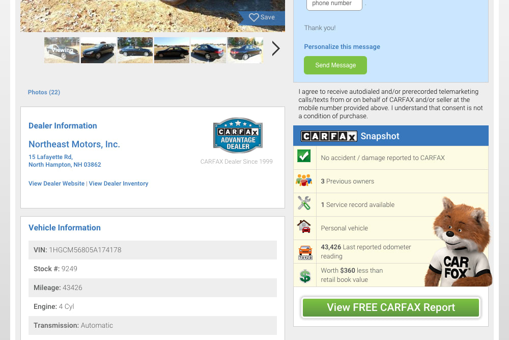 Carfax view report button