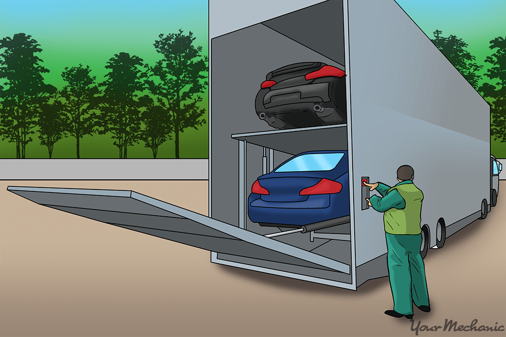 car being delivered in an enclosed truck