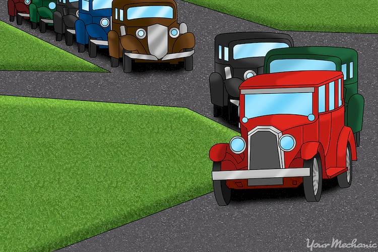 classic cars cruising down the road