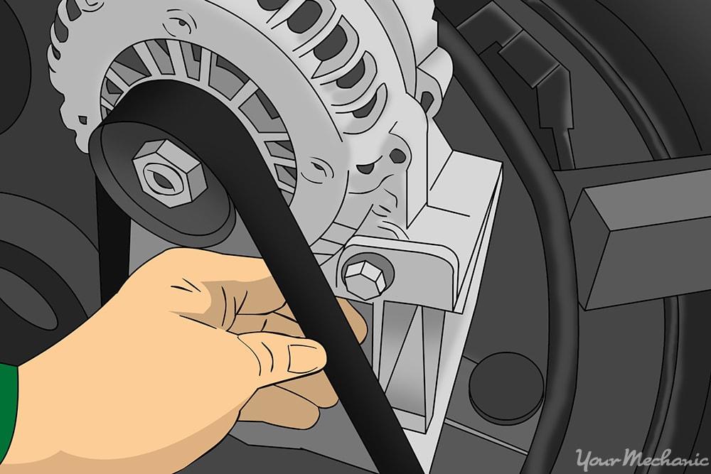 person examining timing belt