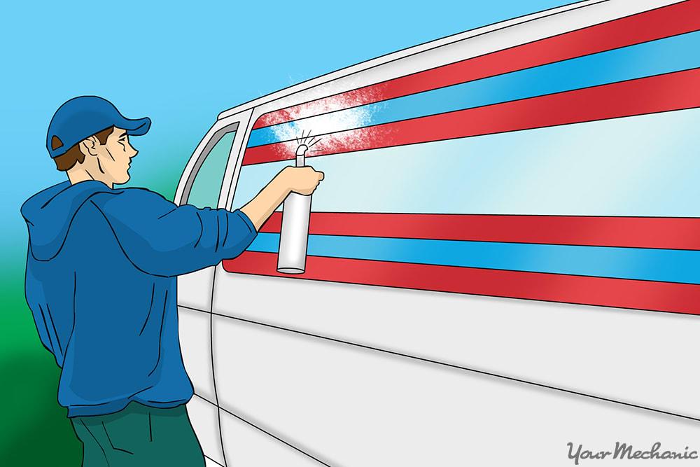 person spraying vinyl off onto car