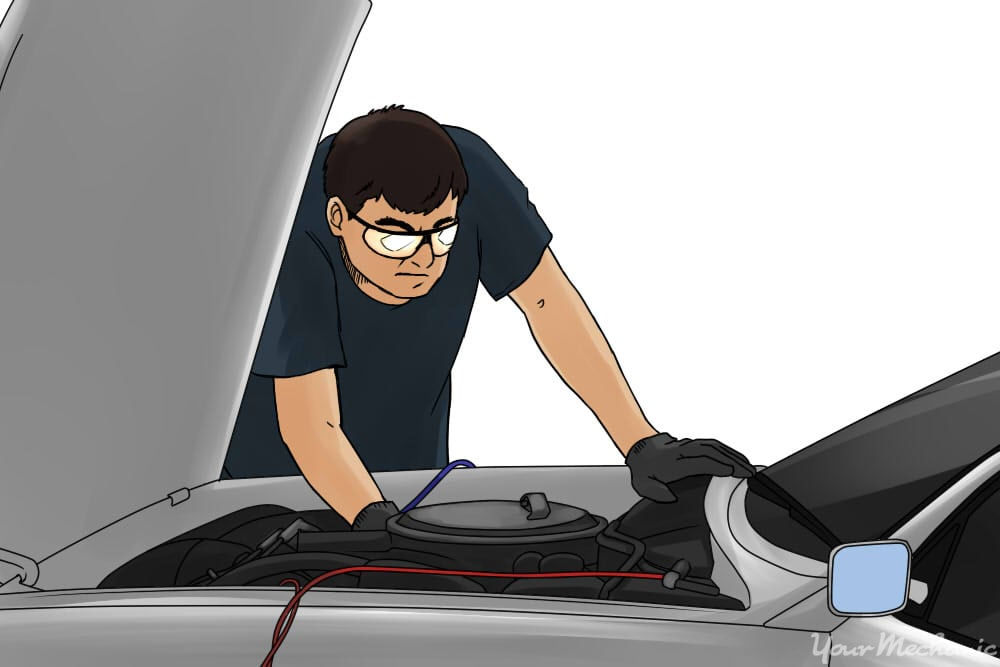 inspecting a car battery
