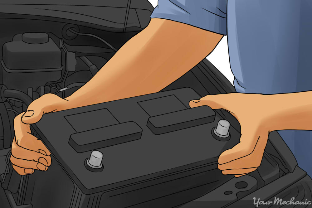 lifting a battery out of a car engine