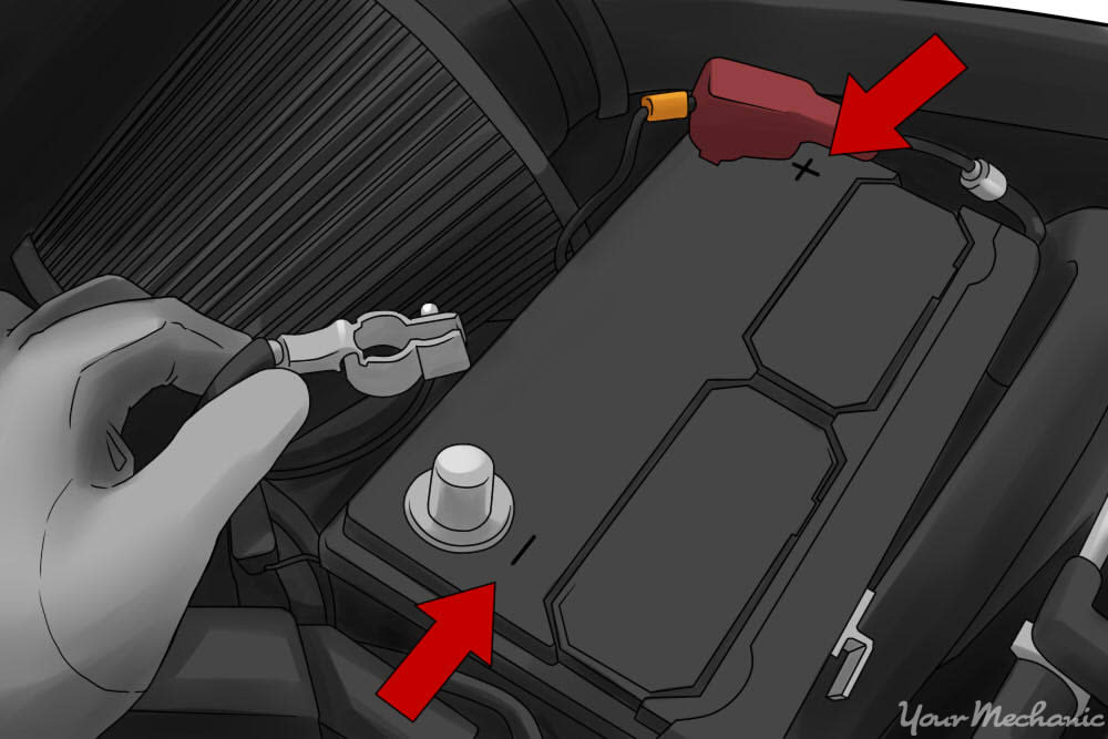 removing a bolt from a car battery