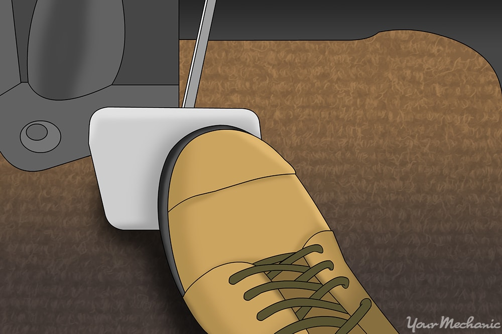 pressing on clutch pedal
