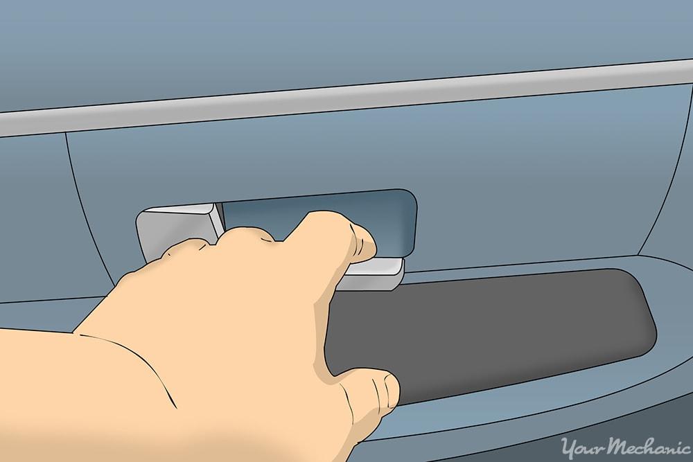 hand trying the interior door handle