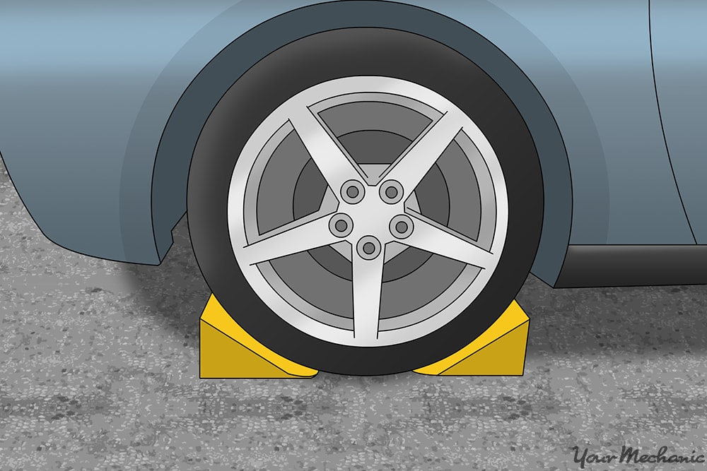 wheel chocks placed around a tire