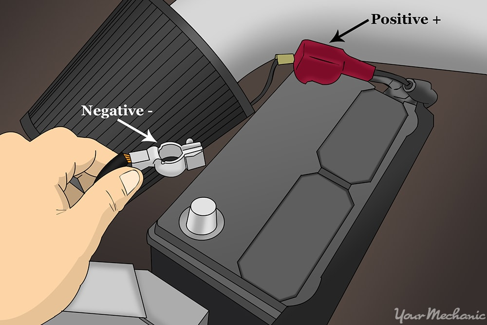 hands removing the negative battery cable