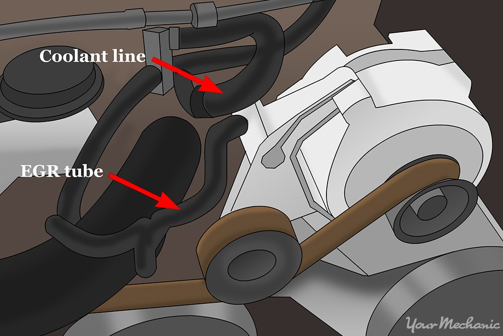 diagram showing the coolant line that needs to be removed to access the EGR tube