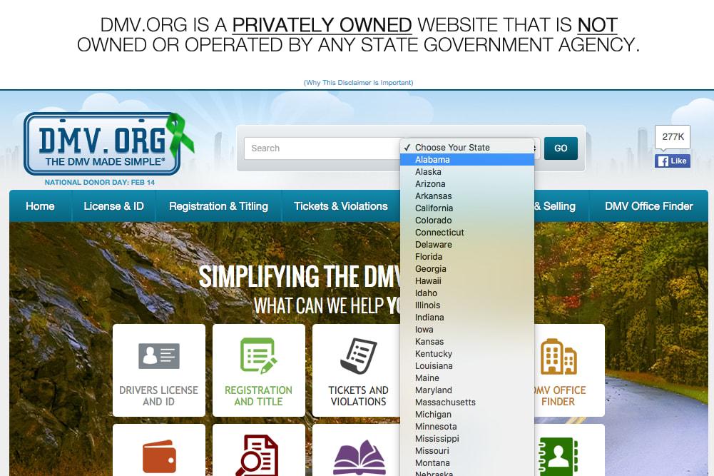 dmv site screenshot state selection
