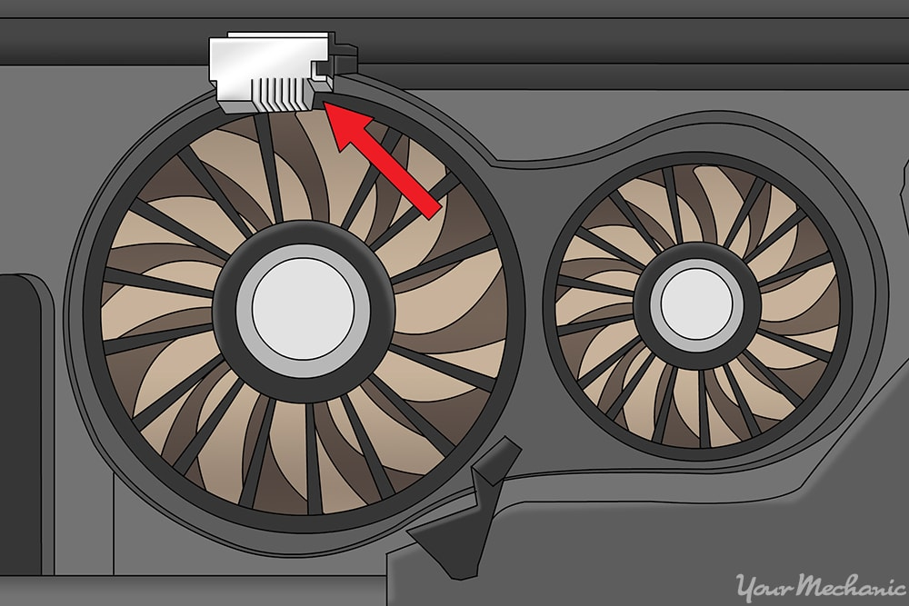 new fan control module shown on the radiator assembly