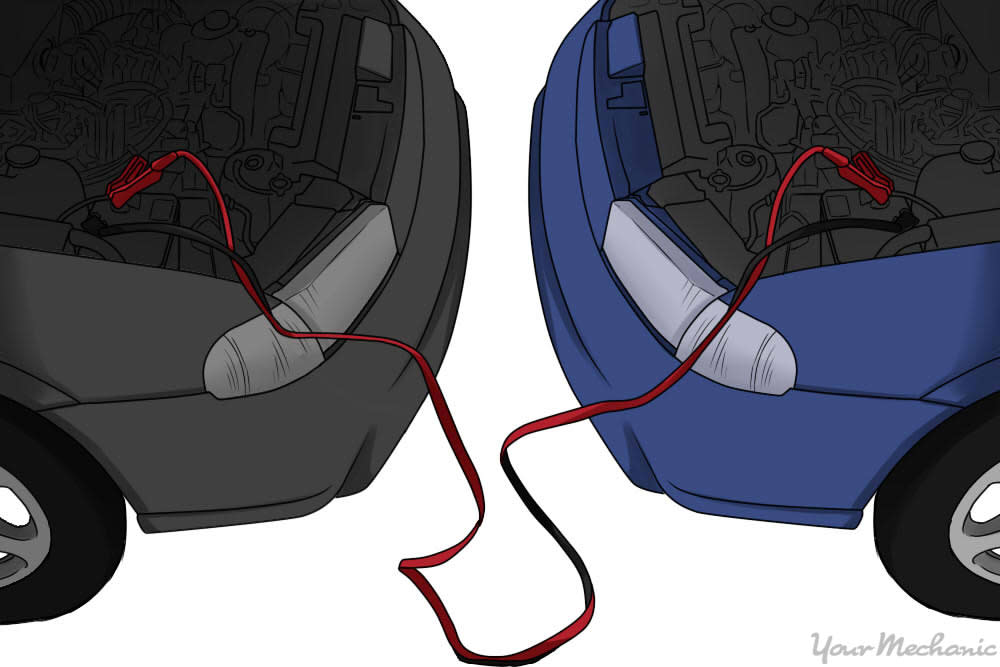 How to Use Jumper Cables - Donor car battery hooked up to car with dead battery