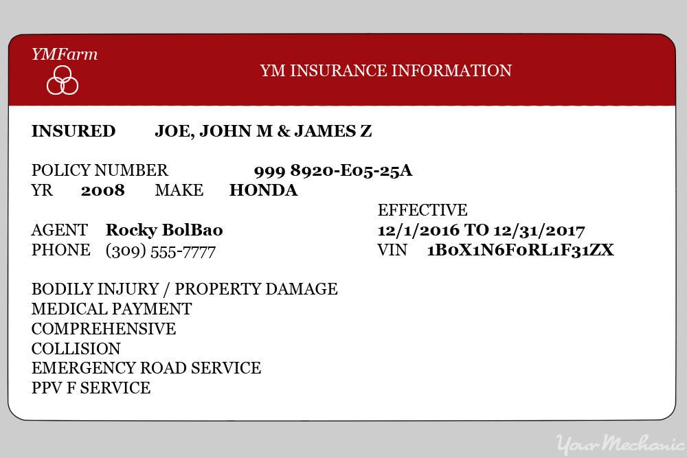 vehicle insurance card