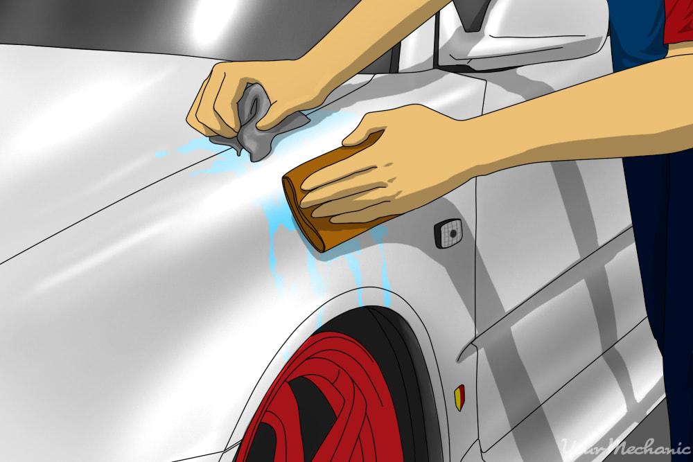 person sanding car