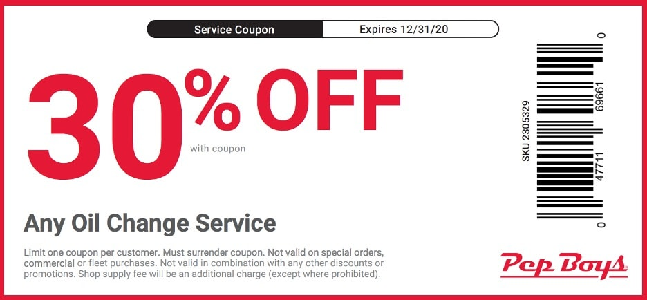 Pep Boys oil change coupon for 30% off