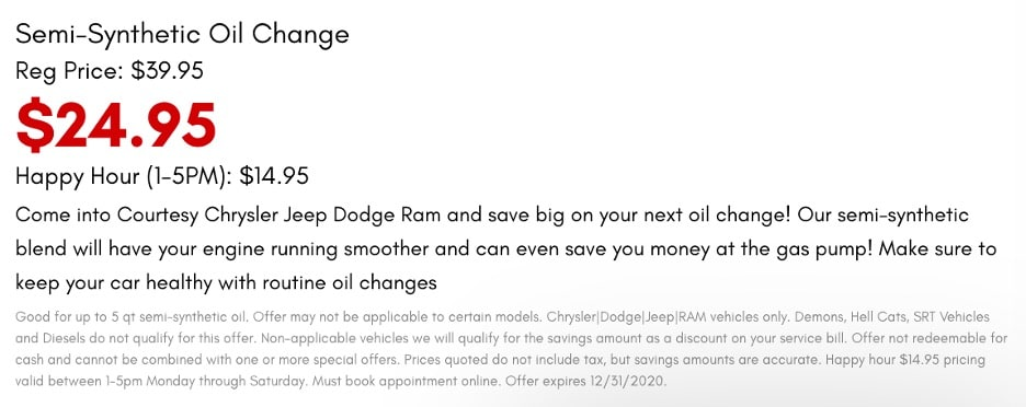 Chrysler Jeep Dodge Ram semi-synthetic oil change coupon