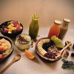 שולחן מלבי, שייקים וקערות אסאי