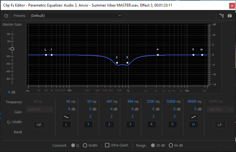 Parametric Equalizer efekto panelė