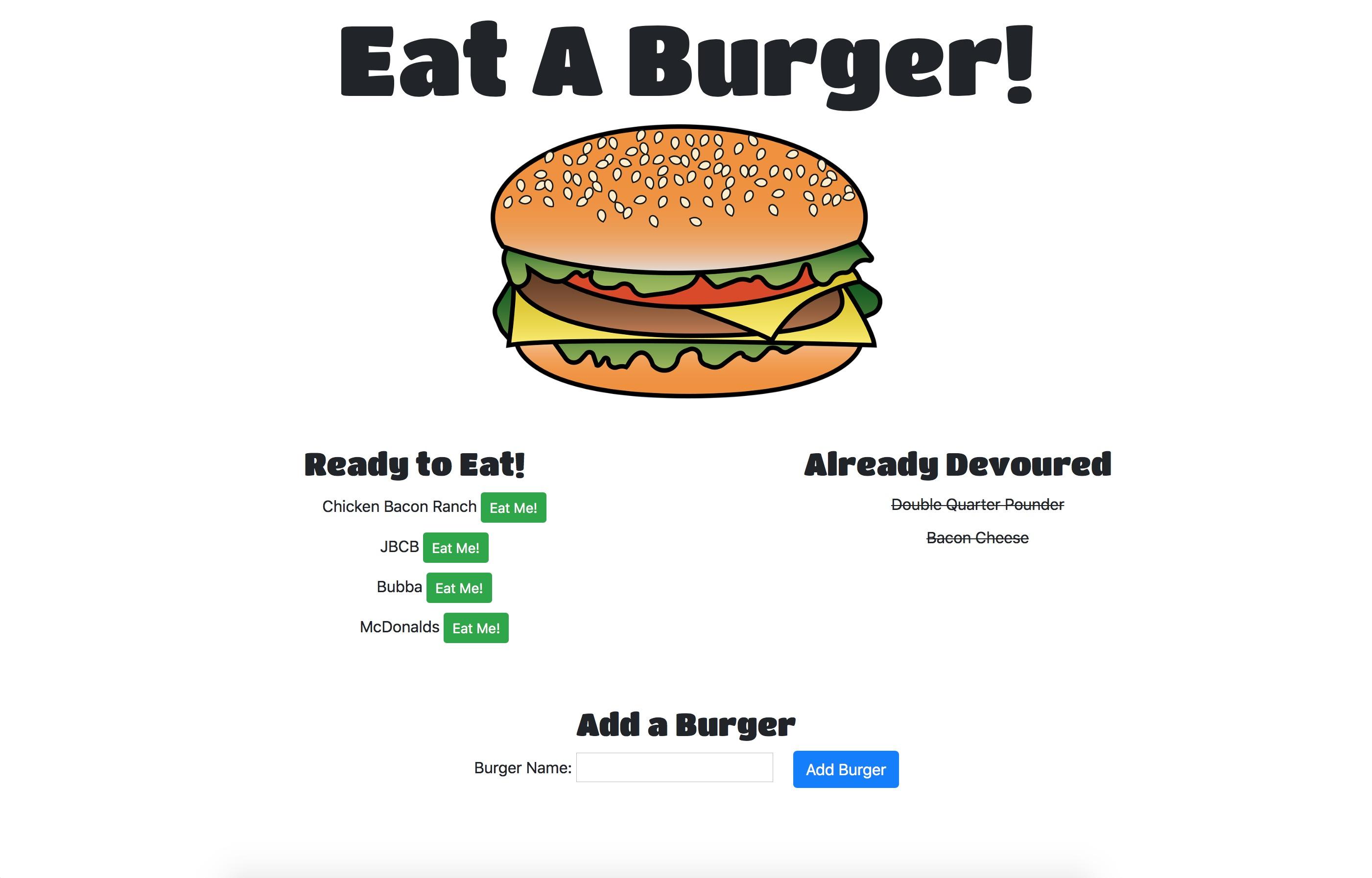 Eat a Burger Web App