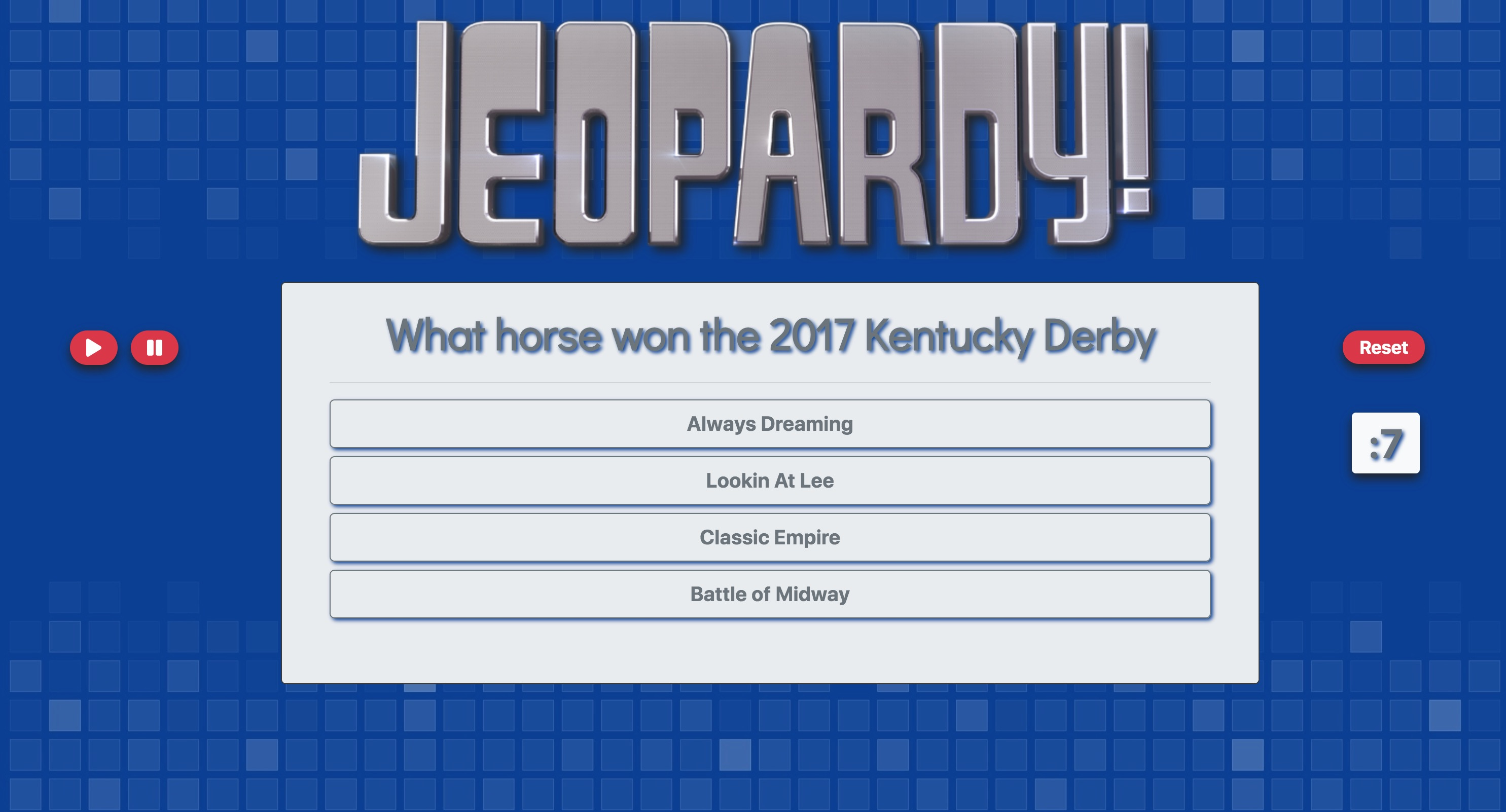Jeopardy Web App