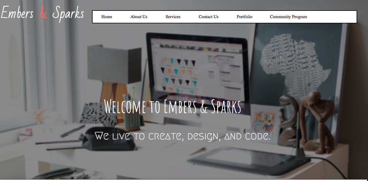 ember and sparks portfolio website