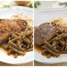 תבשיל עוף / בקר עם שעועית ירוקה ואורז