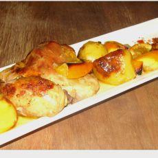 """עוף עם פלחי תפוז ותפו""""א אפויים"""