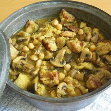 מדרוטה- תבשיל פטריות פורטבלה, חצילים וחומוס