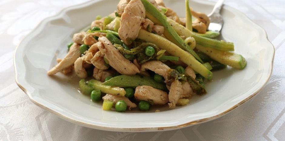 חדש!!!רצועות עוף וירוקים- מנה פיקנטית קייצית ובריאה-ניתן להזמין טבעוני עם טופו!
