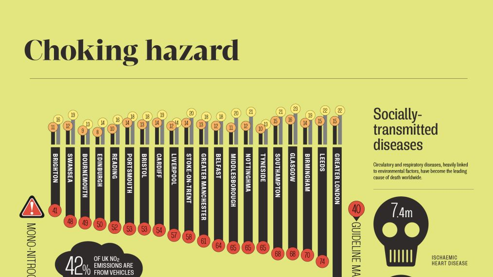 Infographic looking at pollution levels in cities around the world