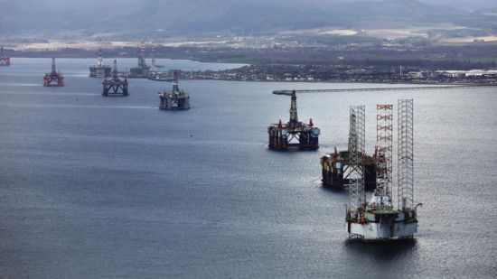 Redundant oil rigs off the coast of Cromarty Firth, north Scotland
