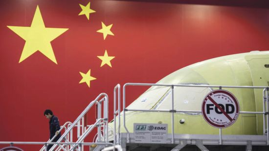 Commercial Aircraft Corporation of China's C919 airliner under assembly at the group's facility in Shanghai