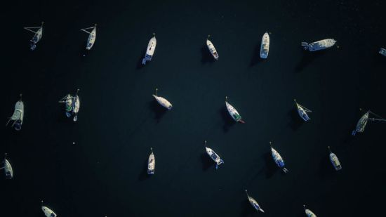Aerial view boats