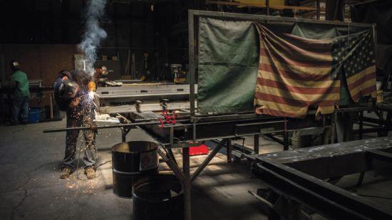 US steel worker in workshop