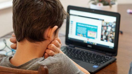 Boy staring at laptop