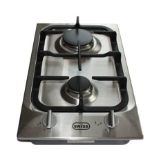 Swiss Built-In Domino 2 Burner Gas Hob on Stainless Steel, 30cm