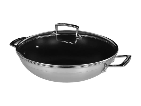 Le Creuset 3 Ply Stainless Steel Wok With Glass Lid 30cm Yuppiechef