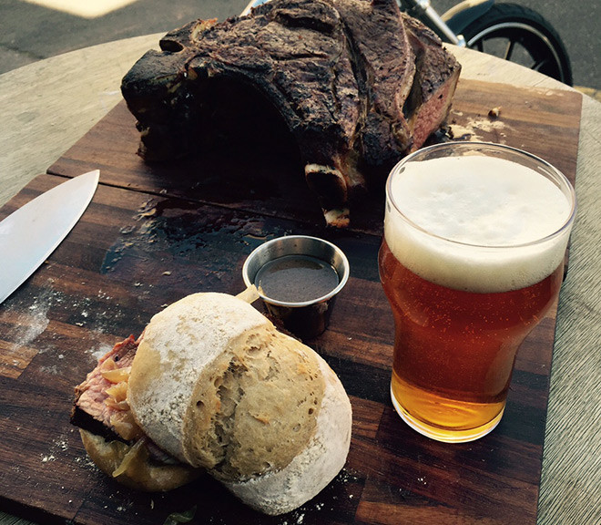Jason Lilley's beer marinated wing rib on the bone with beer bread and boozy onions