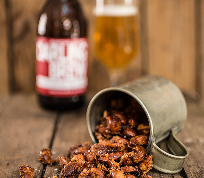 Beer, chilli & bacon caramelised nuts
