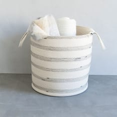 Mia Melange Ivory with Stripes Floor Basket