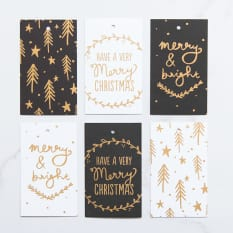 Yuppiechef Greeting Cards Merry & Bright Christmas Gift Tags, Set of 6