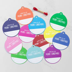 Love Letters Stationery Colourful Christmas Bauble Tags, Pack of 6