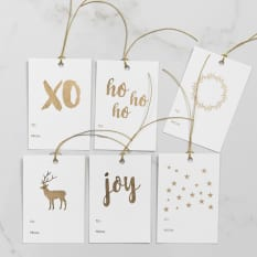 Love Letters Stationery Gold Foiled Christmas Tags, Pack of 6