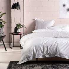 Linen House Nara Bamboo Satin Stitch Cotton Duvet Cover Set