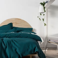 Linen House Deluxe Waffle Duvet Cover, Teal